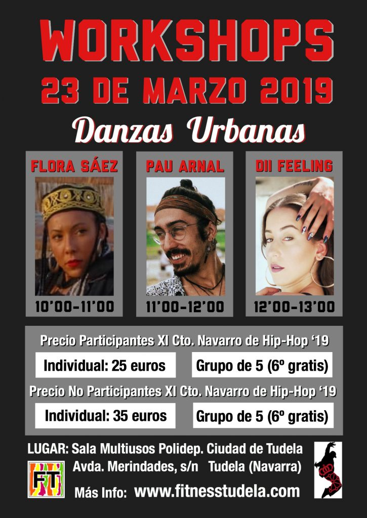 WORKSHOPS 23 DE MARZO 2019 XI CTO. NAVARRO DE HIP-HOP EN TUDELA DE NAVARRA