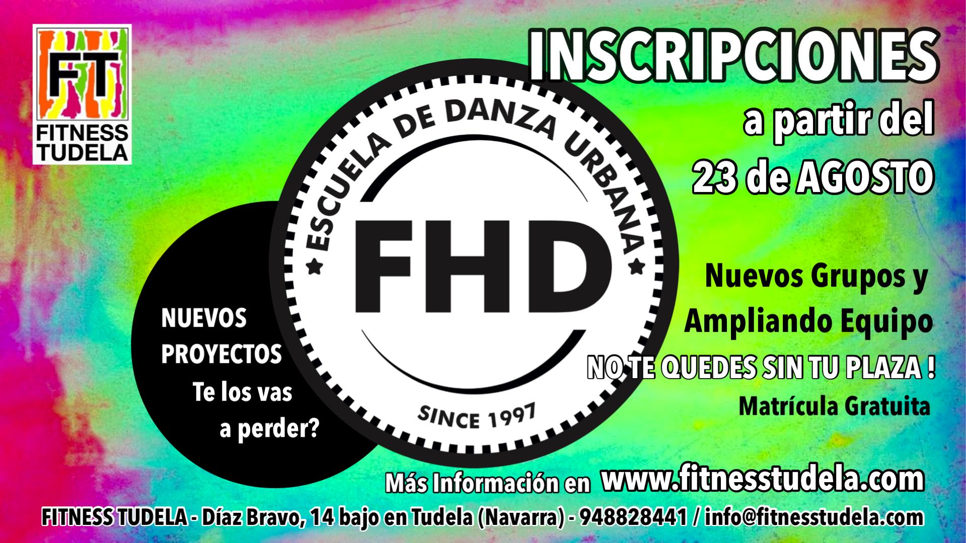 INSCRIPCIONES ESCUELA DE DANZA  FHD DE FITNESS TUDELA – TEMPORADA 2021-22