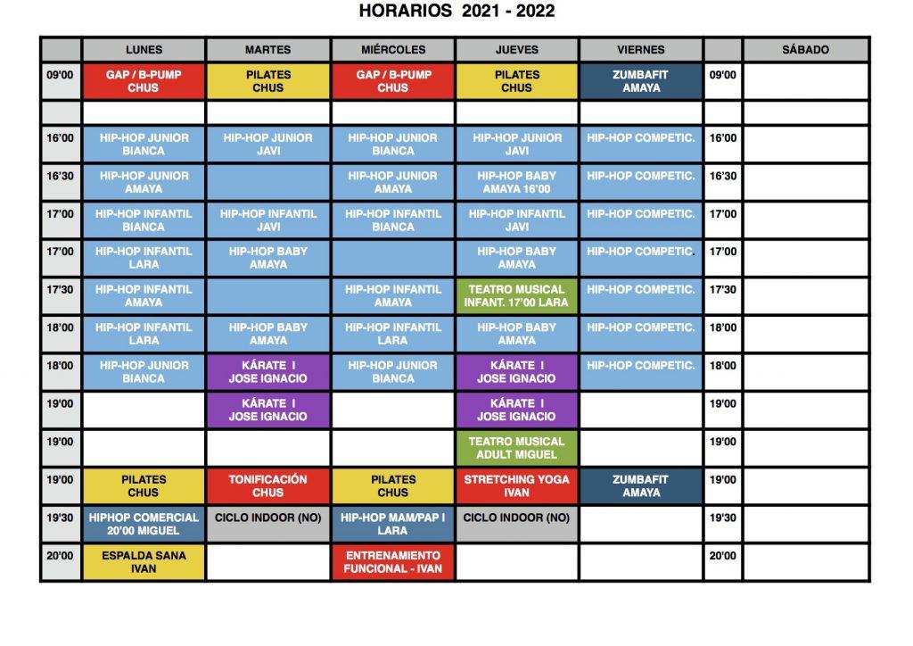 HORARIOS SEPTIEMBRE/OCTUBRE 2021 FITNESS TUDELA (NAVARRA)